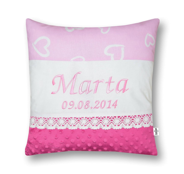 Amilian/® Kissen 40 x 40 cm mit Namen Datum Herzen rosa//ROSA