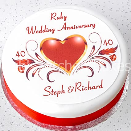 Ruby Wedding Anniversary Cake Topper Personalised Names Edible Icing 7 5 19cm Round 40th Anniversary Cake Decoration Ruby Wedding Cake