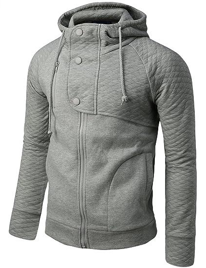 Doublju Mens Hood Zip Up Jacket with Quilting GRAY (US-XL)