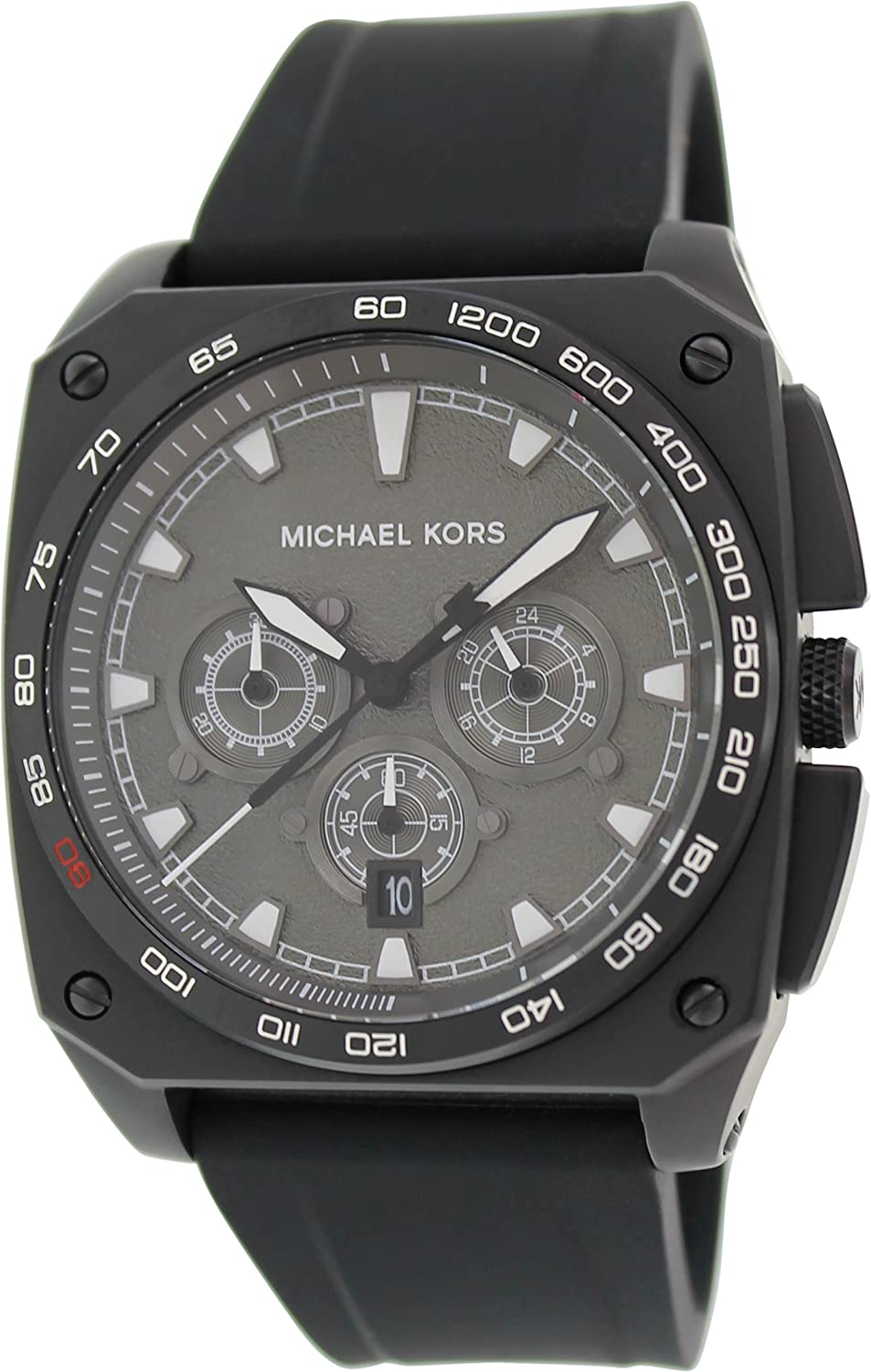 Amazon.com: Michael Kors Grandstand Chronograph Black Sandblasted Dial Black Silicone Mens Watch MK8390: Michael Kors: Watches