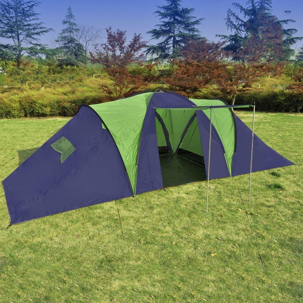 XuzhEU Zelt Blau und Grün Polyester für 9 Personen