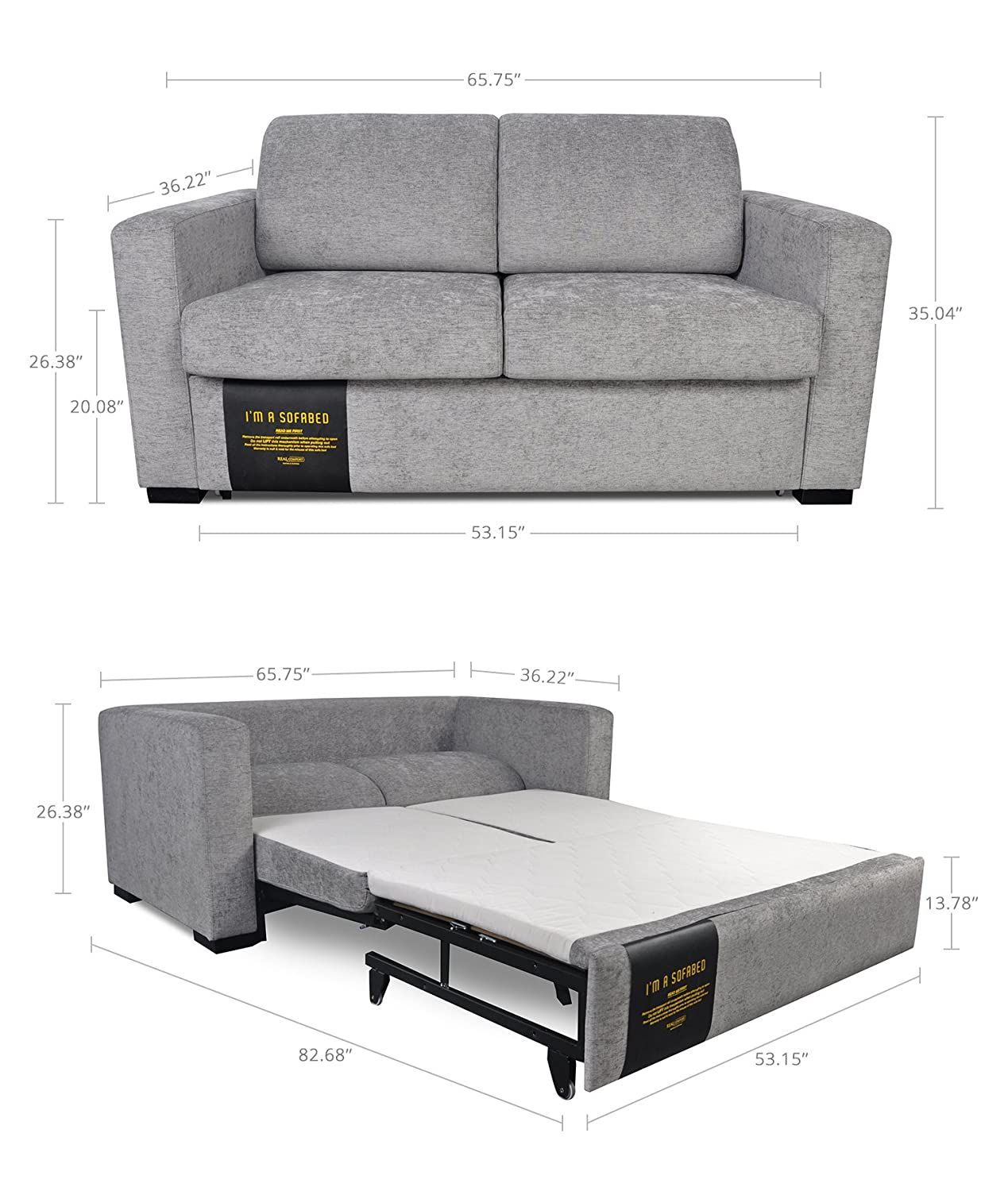 Amazon: Modern Functional Lift And Pull Out Loveseat Couch Sofa Bed  Futon Double, Queen Easy To Transform: Kitchen & Dining