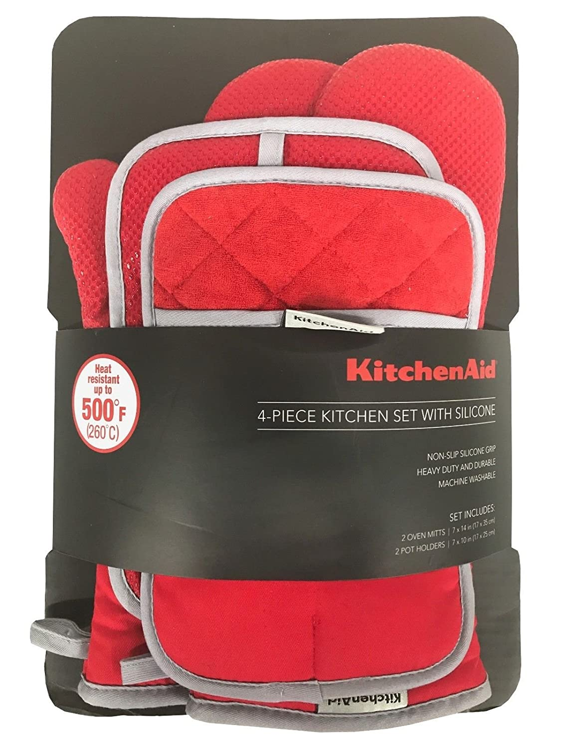 KitchenAid 4 Piece Kitchen Set w/ Silicone 2 Oven Mitts, 2 Pot Holders (Red)