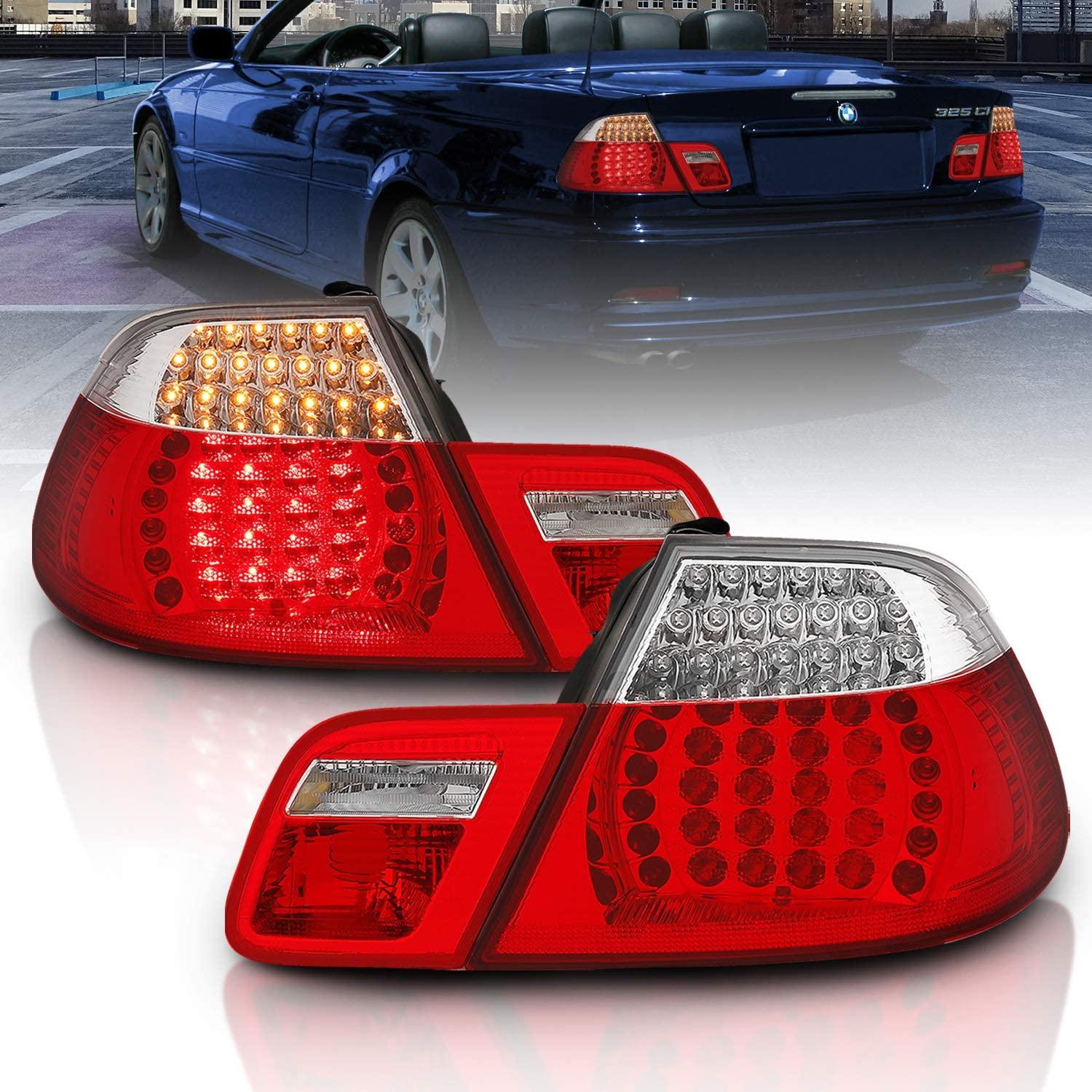 Amazon Com Amerilite Convertible L E D Taillights Set Red Clear 4 Pcs For Bmw 3 Series E46 Passenger And Driver Side Automotive