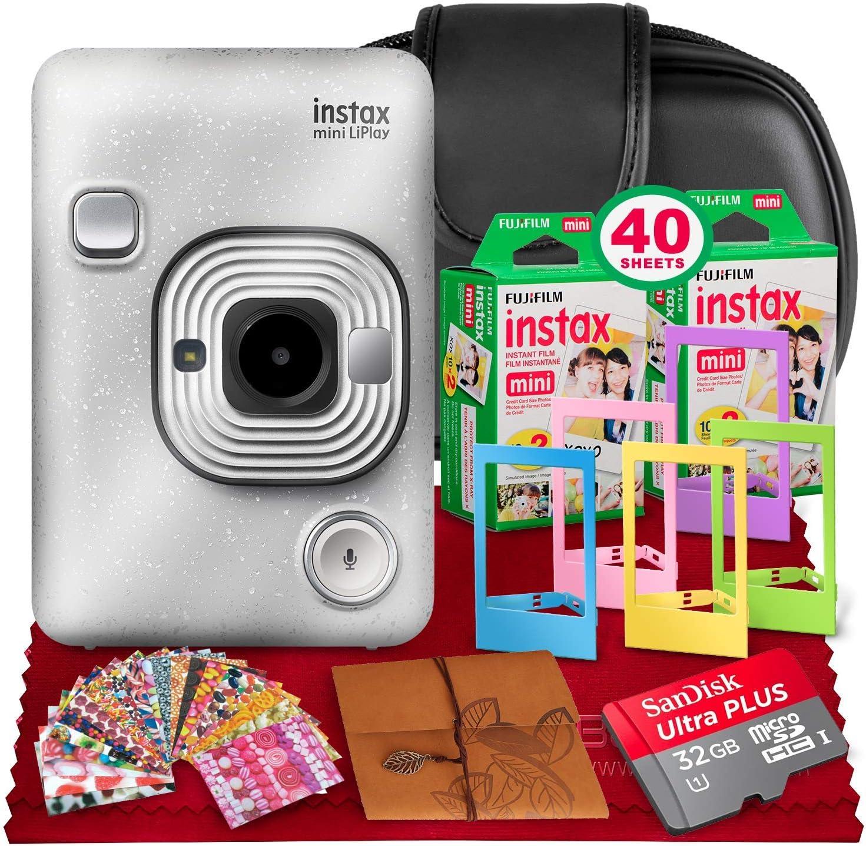 Fujifilm INSTAX Hybrid Mini LIPLAY (Stone White) + Fujifilm Instax Mini Instant Film (40 Shots) + Camera Case & 32GB Platinum Accessory Bundle (USA Warranty)
