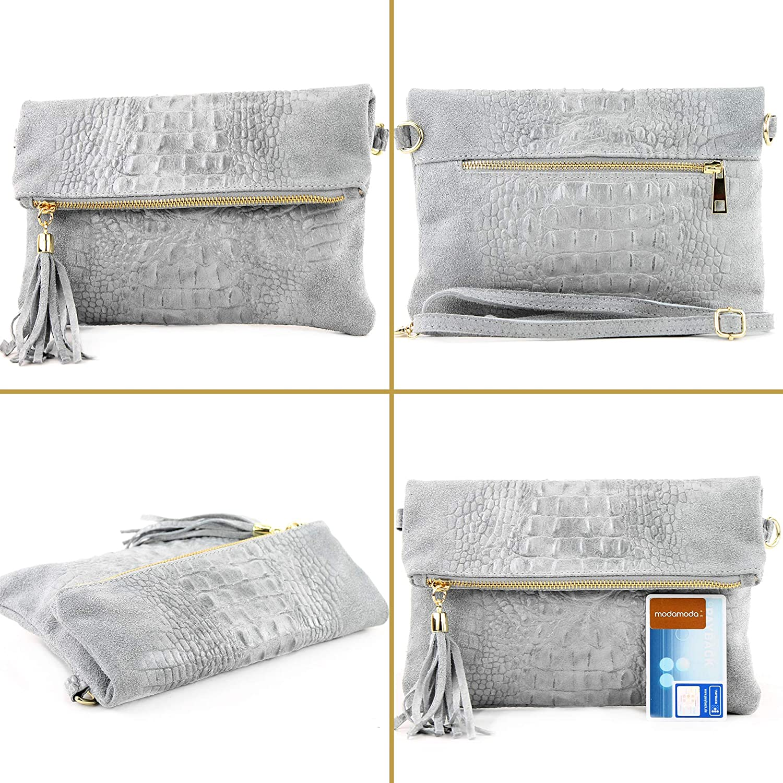 modamoda de - Ital Petit embrayage en cuir Nappa T54 Taubenblau Wildleder/Kroko