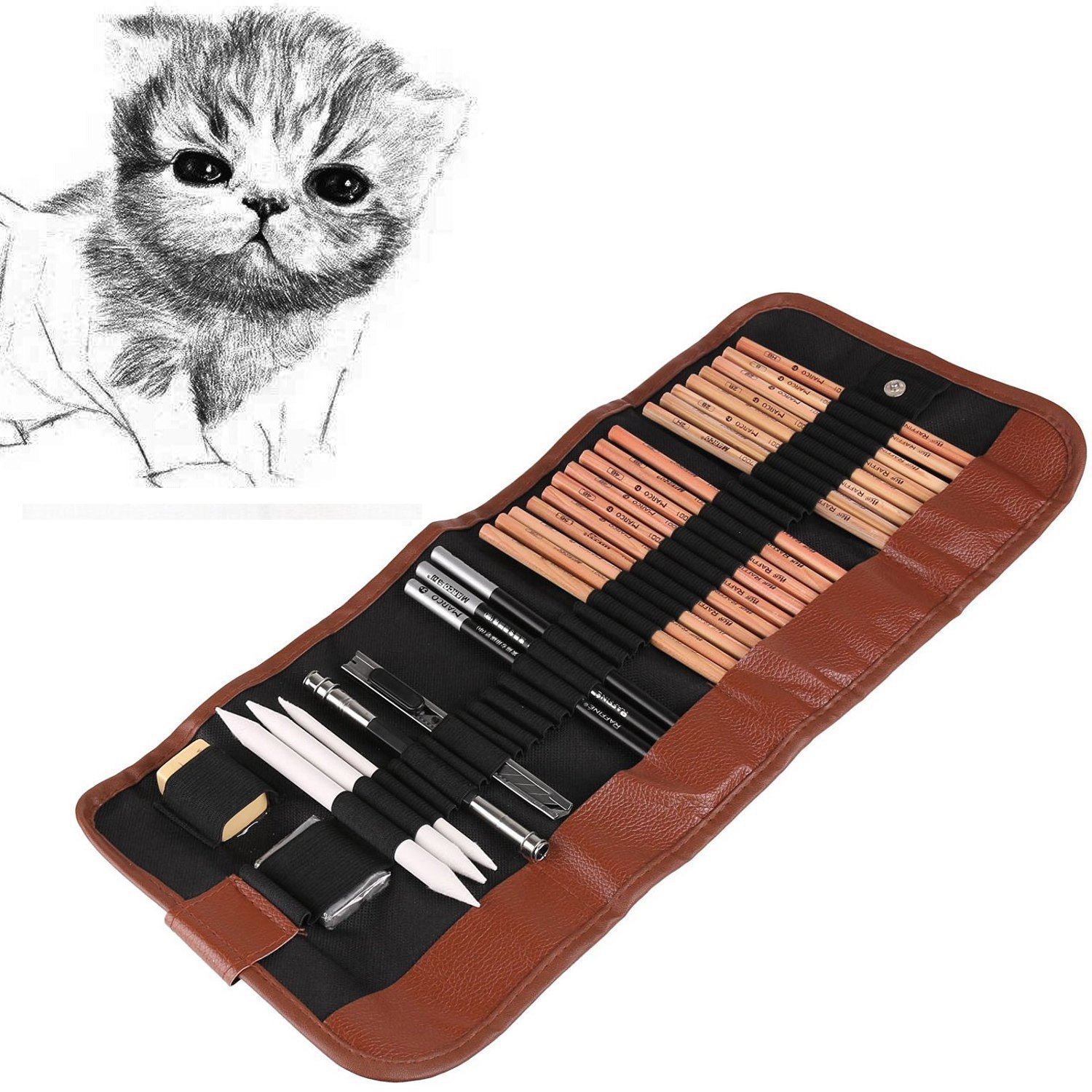 Powstro Sketching Pencil Set,18pcs Pen Charcoal Sketch Set Roll Up Canvas Carry Pouch of Pencils Eraser Craft Knife Pencil Extender 29pcs Total for Beginners Artist