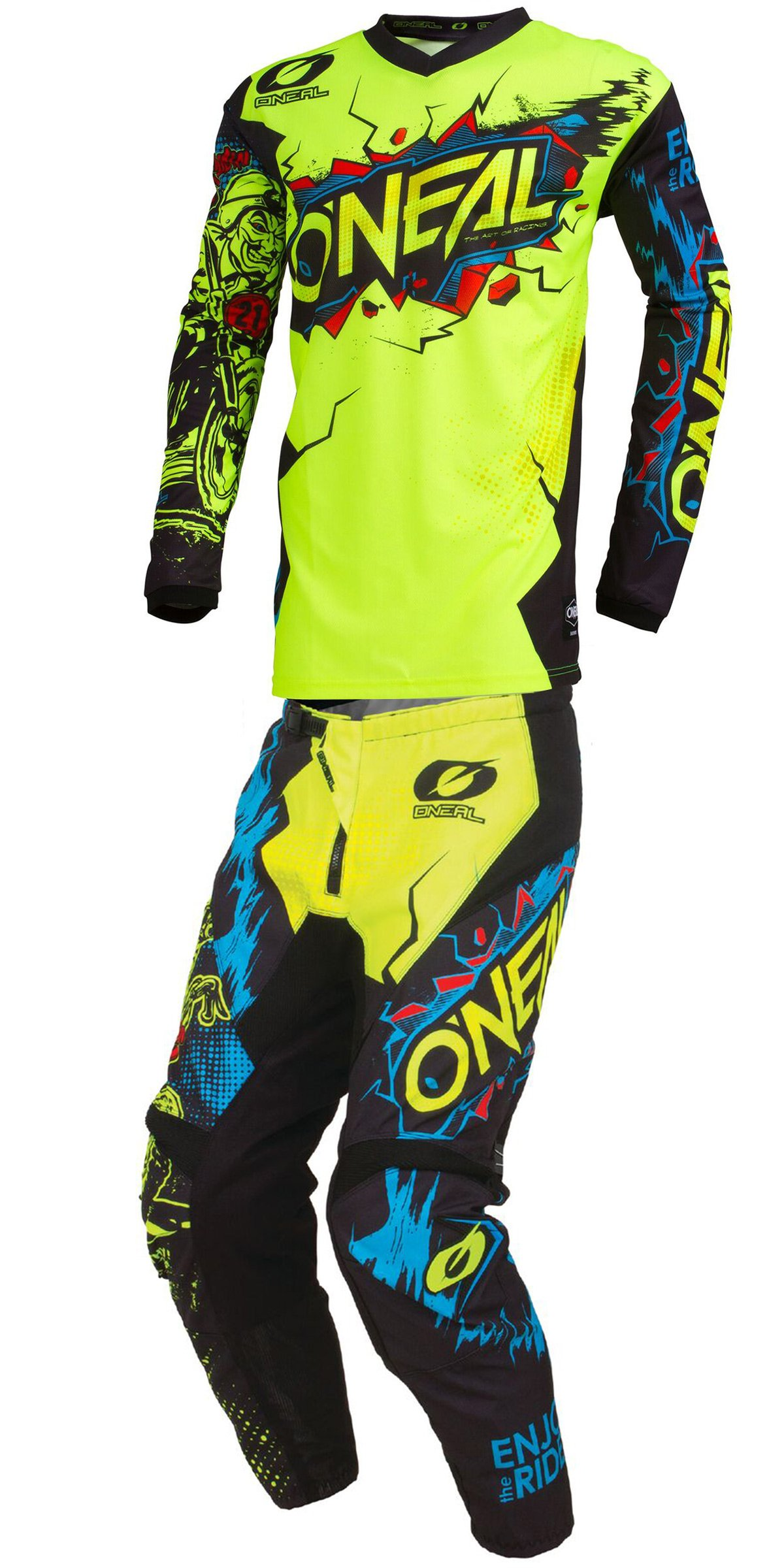 O'Neal - 2019 Element Villain (Youth NEON Yellow Y-Large/Y-28W) MX Riding Gear Combo Set, Motocross Off-Road Dirt Bike Jersey & Pant
