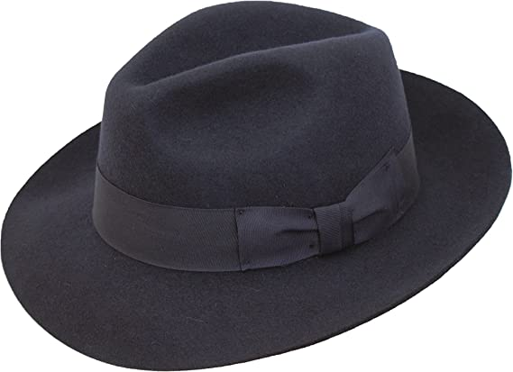 D/&H Navy Hand Made Gents Fedora Felt Trilby Hat with Wider Brim 100/% Wool New