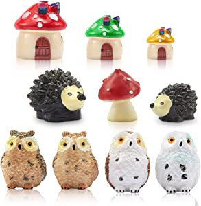 Sumind Mini Hedgehogs and Mushroom, Miniature Fairy Garden Accessory, Fairy Garden Animals, 3 Pieces Mushroom House, 4 Pieces Resin Owls, Micro Landscape, Plant Pots Decor