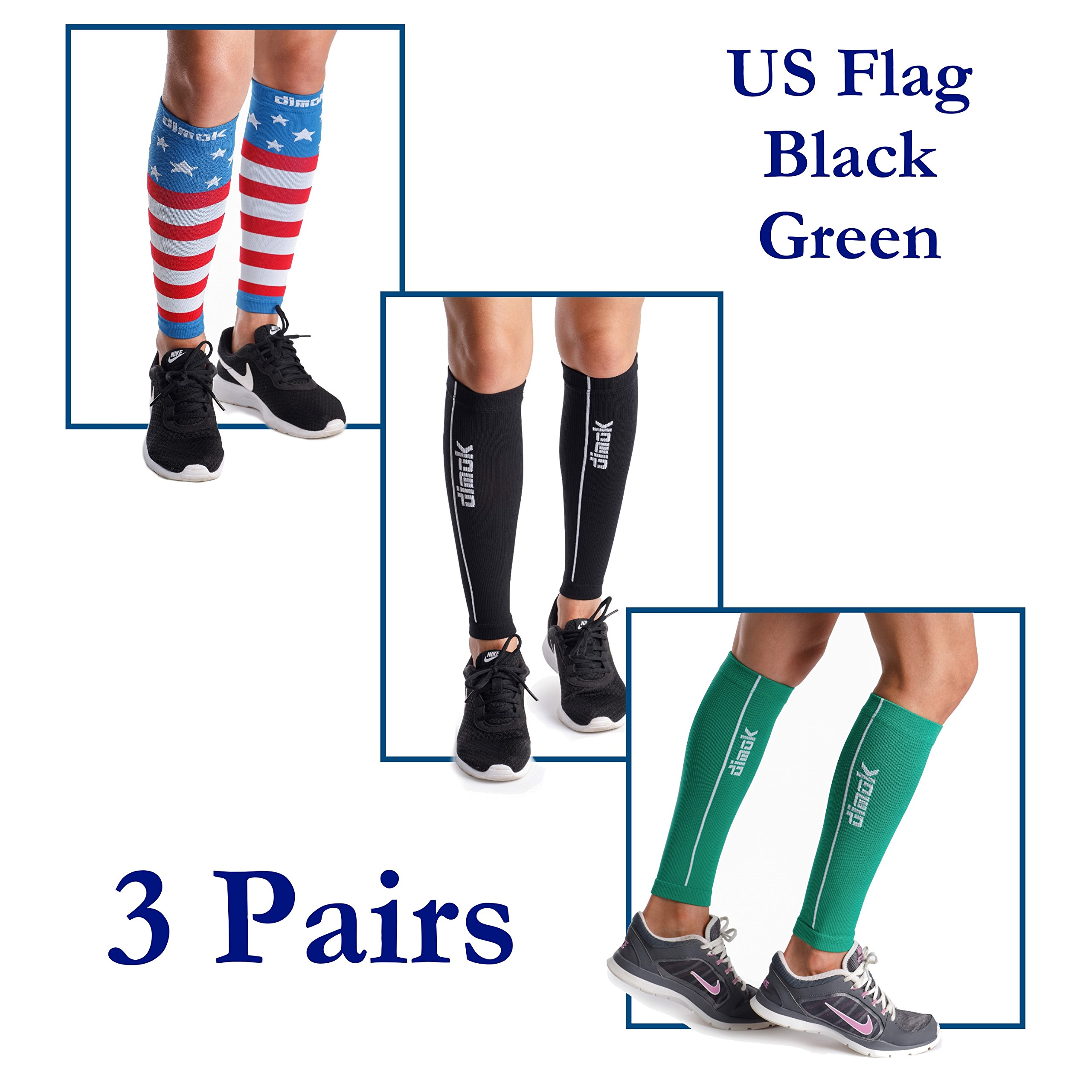 dimok Calf Compression Sleeves Leg Compression Socks - Reduces Shin Splint Muscle Pain Cramps Fatigue - Provides Fast Recovery Better Circulation (USA Flag & Green & Black, M/L)
