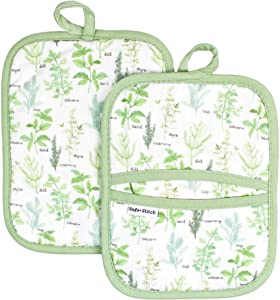 Sage and Stitch Kitchen Pot Holders for Women 7'' x 9'' with Hand Pockets and Hanging Loop, Dual Function Oven Mitt Trivet Potholder Hot Pad 100% Cotton, Heat Resistant Set of 2 - Green Herbs