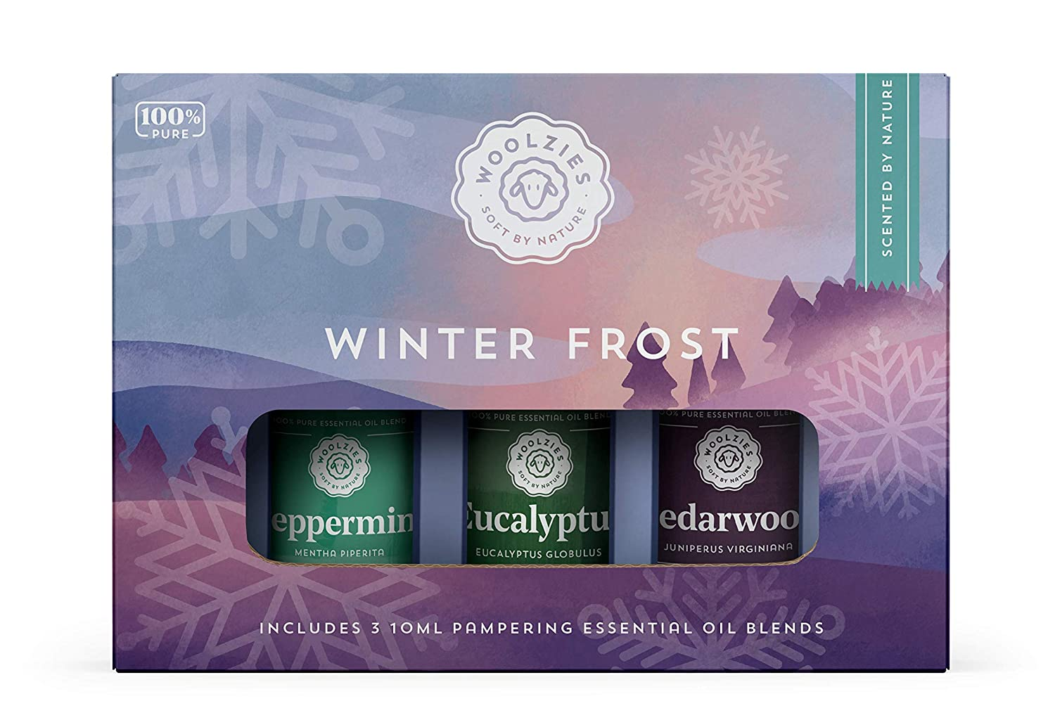 Woolzies 100% Pure Winter Frost Essential Oil Set of 3   Incl. Peppermint, Eucalyptus & Cedarwood Oils   Highest Quality Aromatherapy Therapeutic Grade   For Diffusion Internal & Topical Use