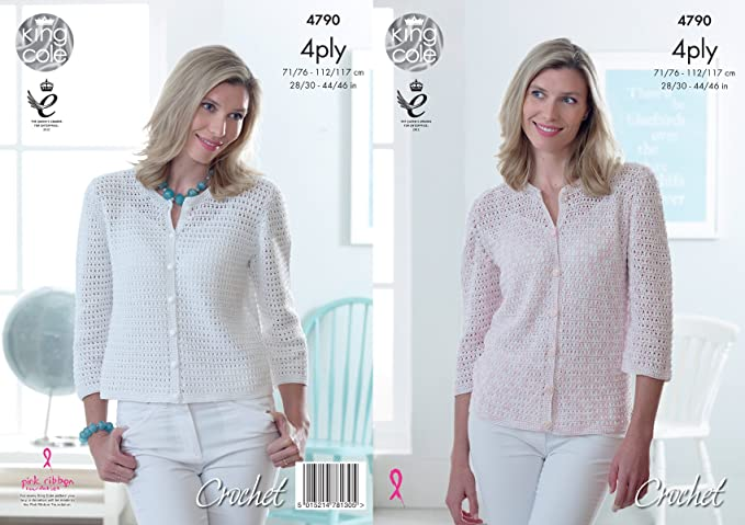 CROCHET PATTERN Ladies 3//4 Sleeve Short Cardigan Giza Cotton 4ply King Cole 4790