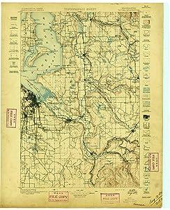 YellowMaps Tacoma WA topo map, 1:125000 Scale, 30 X 30 Minute, Historical, 1897, 20.9 x 17.1 in