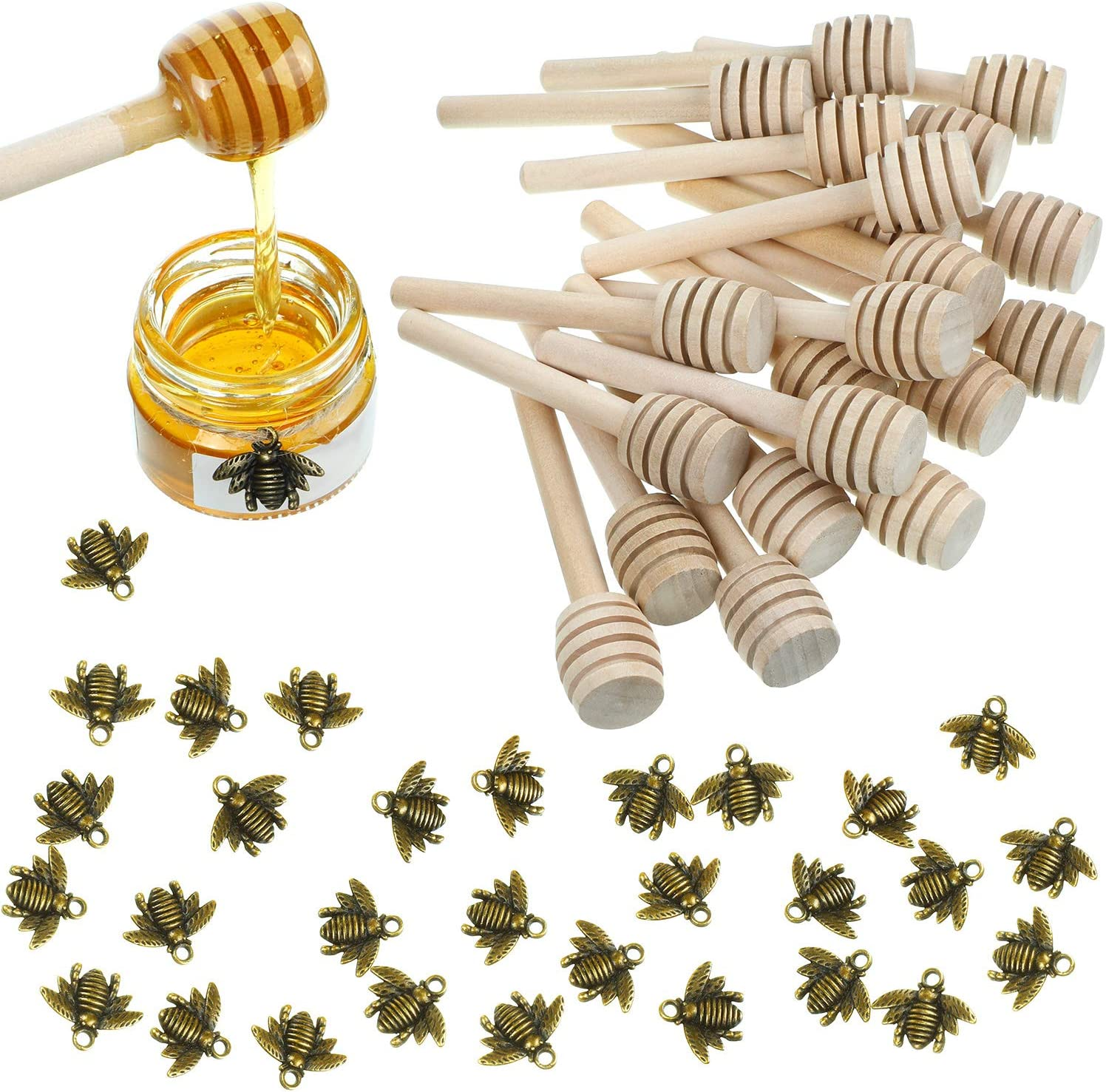 24 Pieces 3 Inch Wood Honey Dipper Sticks and 50 Pieces Honeybee Charm Pendants Set for Honey Jar Dispense Drizzle Honey DIY Craft Jewelry Making Accessory