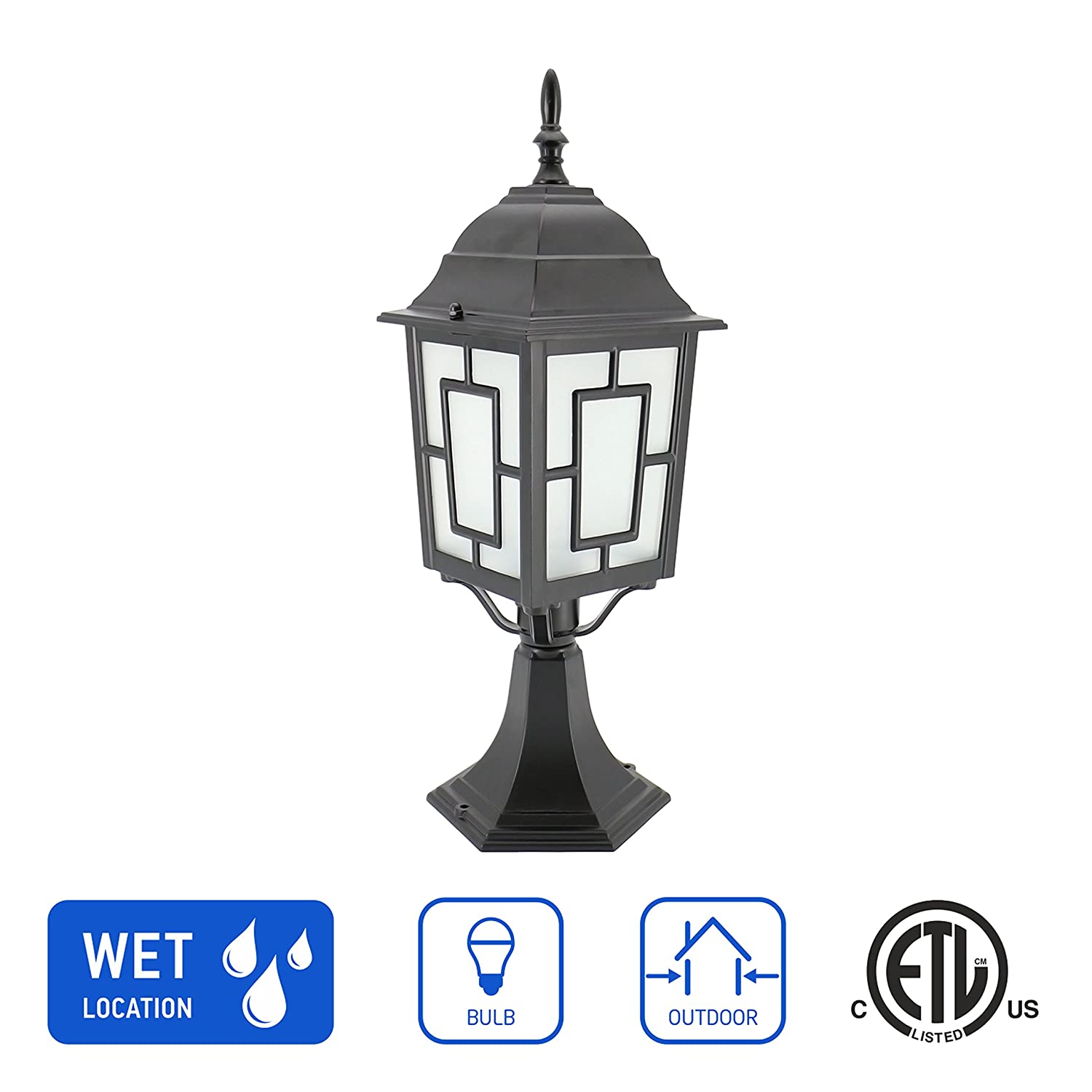 In home 1 light outdoor garden post lantern l05 lighting fixture traditional post lamp patio with one e26 base water proof black cast aluminum housing