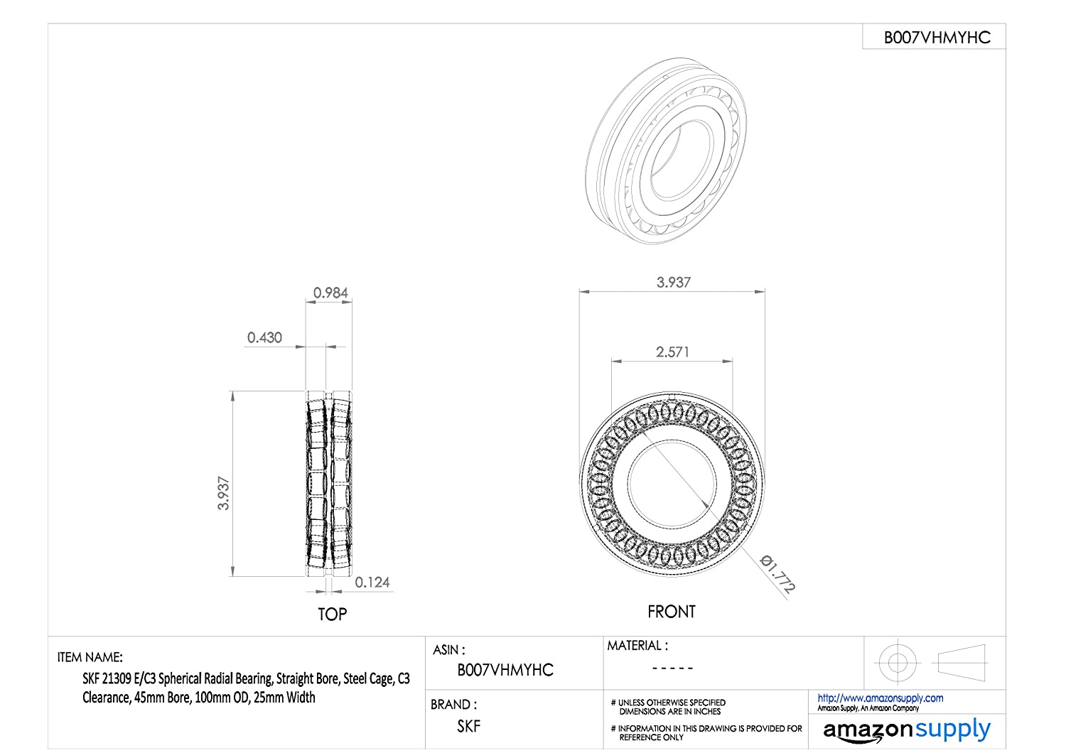 Straight Bore 100mm OD Steel Cage 45mm Bore SKF 21309 E//C3 Spherical Radial Bearing 25mm Width C3 Clearance