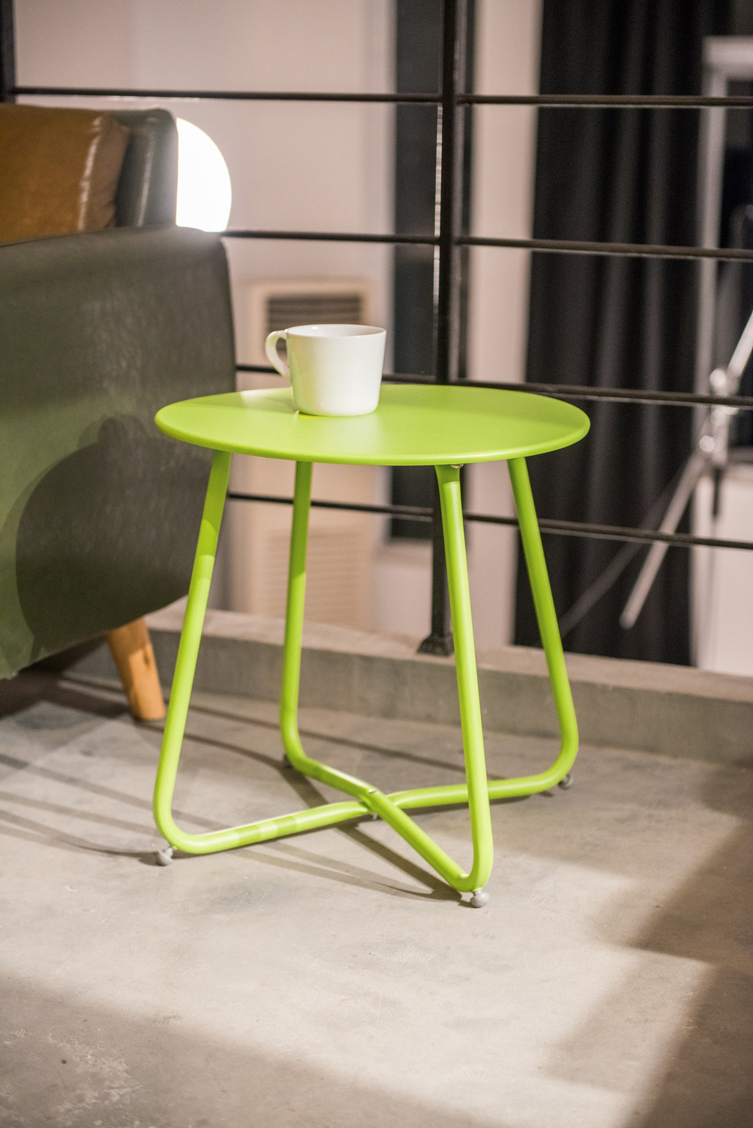 Grand Live Steel Small Round Bistro Side Table,Outdoor/Indoor Ottoman,Tray Side Table, Snack Table, Patio Coffee Table, Anti-Rusty (Green)
