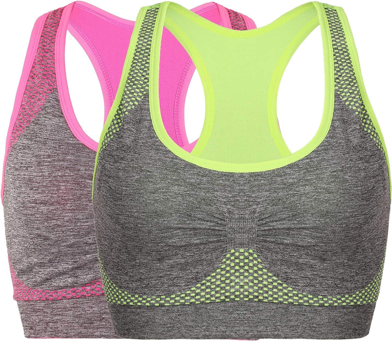 Womens Seamless Sports Bra High Impact Pocket Yoga Bras