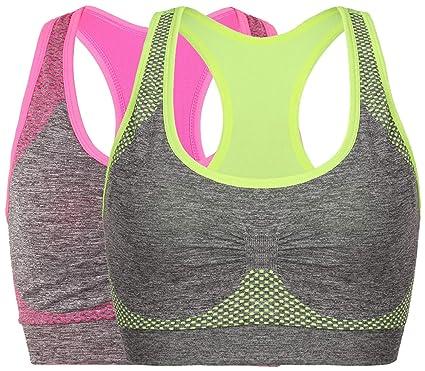 1d98c1ccd Vermilion Bird Women s Seamless Sports Bra High Impact Pocket Yoga Bras M 2  Pack