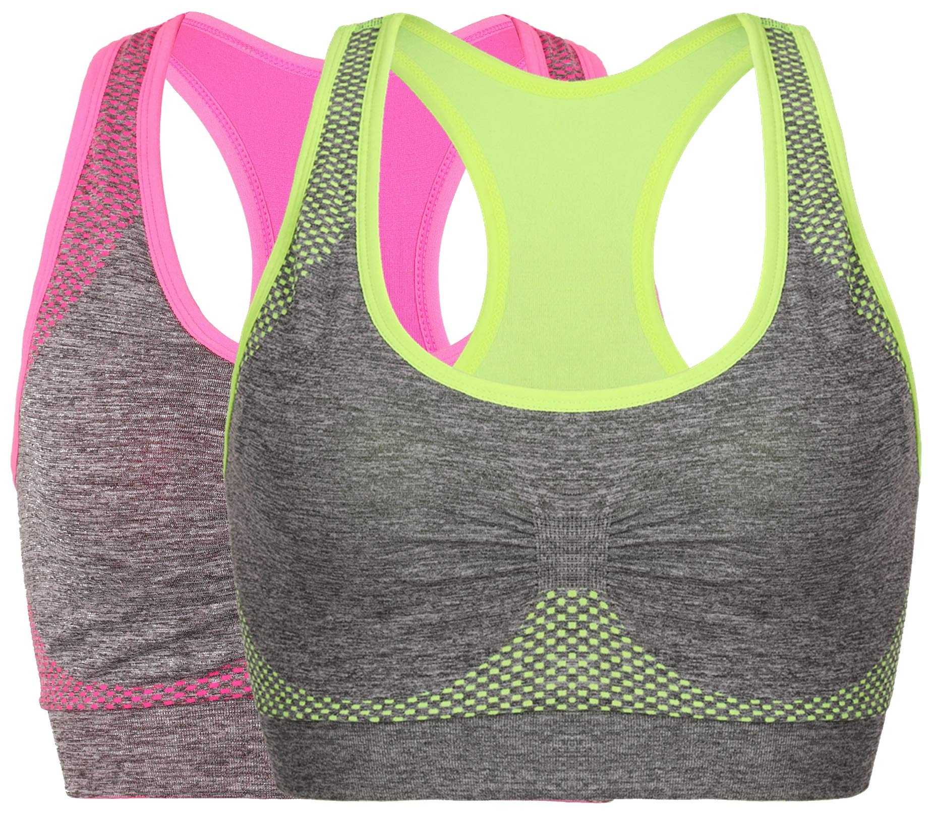 Vermilion Bird Women's Seamless Sports Bra High Impact Pocket Yoga Bras M 2 Pack