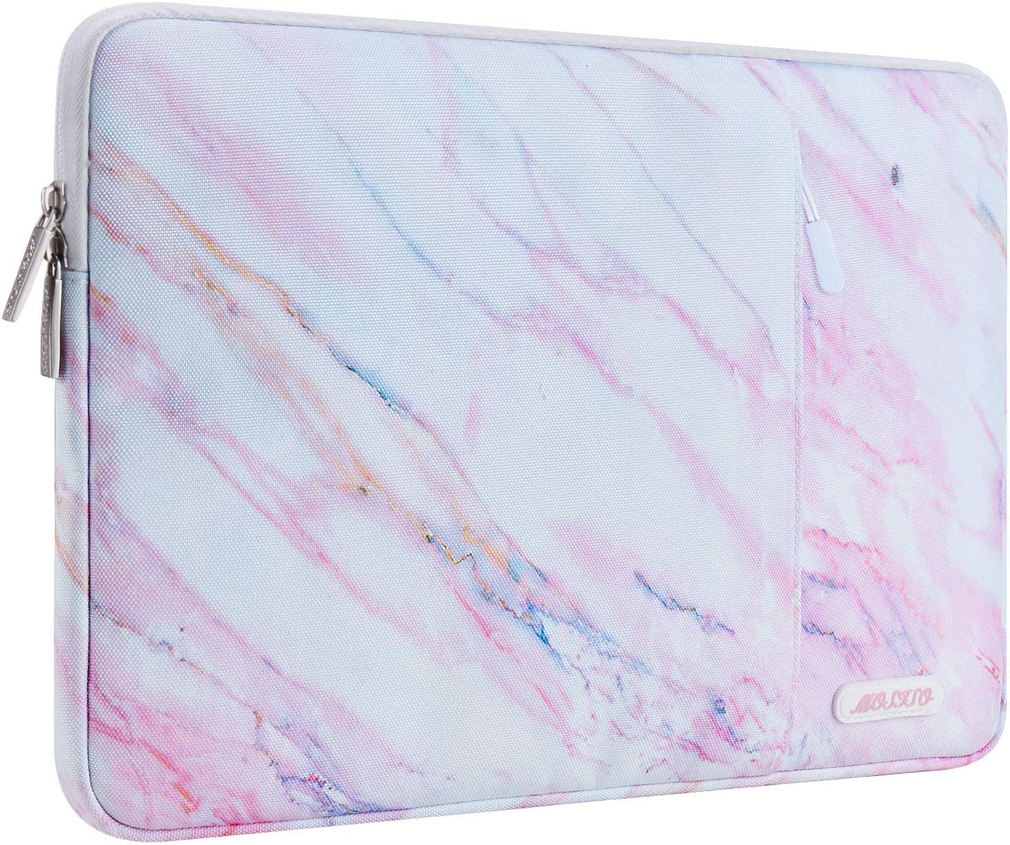 MOSISO Laptop Sleeve Compatible with 2018-2020 MacBook Air 13 inch A2179 A1932, 13 inch MacBook Pro A2251 A2289 A2159 A1989 A1706 A1708, Polyester Vertical Cross Grain Marble Carrying Bag with Pocket