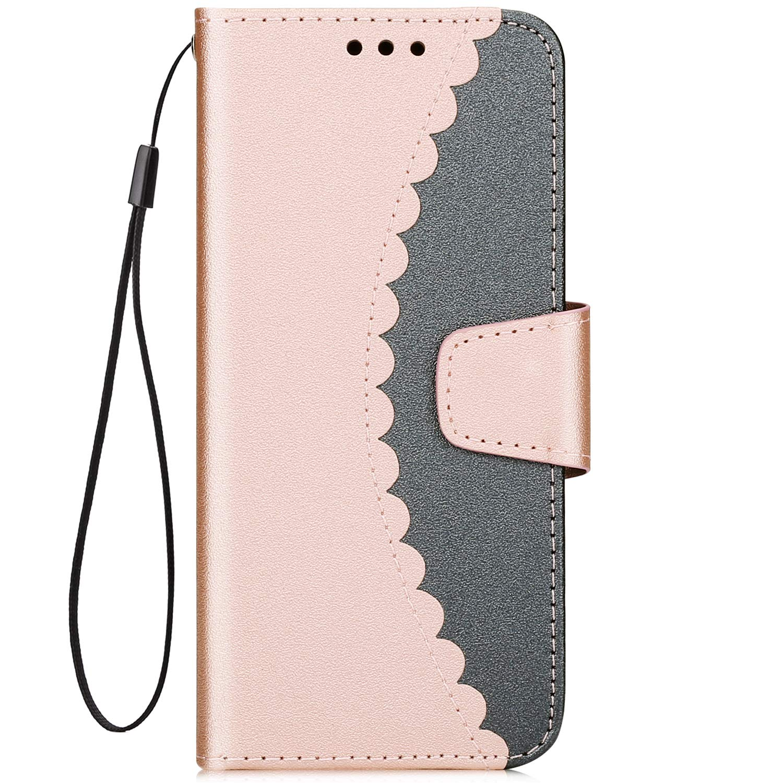 Hülle für Samsung Galaxy S7, Hpory Samsung Galaxy S7 Handyhülle Simpel Muster PU Leder Brieftasche Wallet Case Cover Handytasche Schutzhülle Hülle Tasche + 1 x Hpory Stylus - Mattiert Rosegold Grau