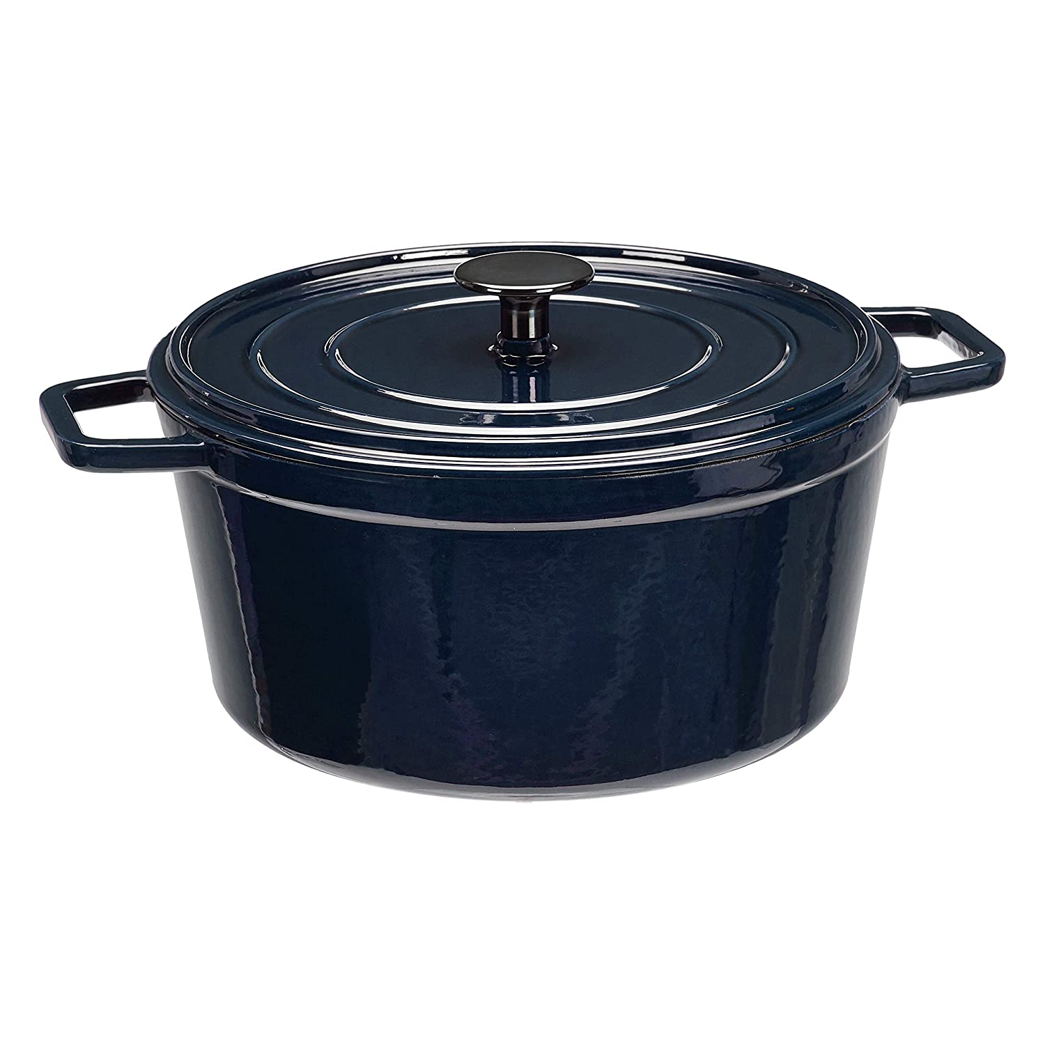 AmazonBasics Premium Enameled Cast Iron Dutch Oven, 5-Quart, Deep Blue