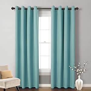 MYSKY HOME Blackout Curtain for Bedroom, Grommet Room Darkening Curtain, Amazing Triple Weave Thermal Insulated Curtain, 1 Curtain Panel ( 52 x 84 Inch, Teal )