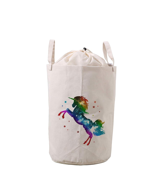 LifeCustomize Large Laundry Hamper Baskets Fantasy Rainbow Unicorn Clothing Storage Bins Boxes Toy Organizer Nursery Folding Baskets with Handles