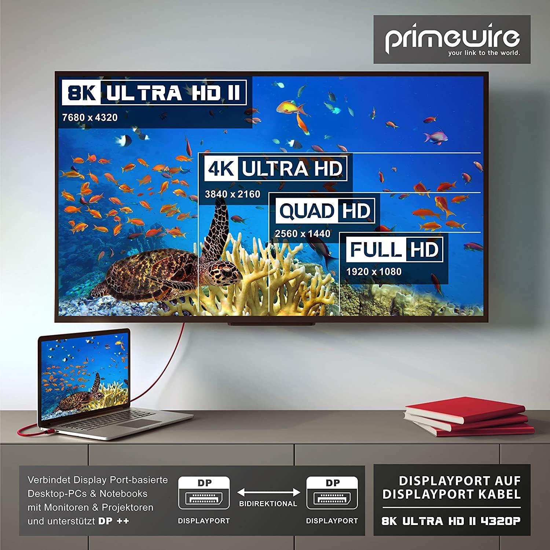 DSC 1,2 2m Cavo Displayport 8k Primewire Larghezza di Banda Fino a 32,4 Gbit s Rosso 3840 x 2160 120 Hz HBR3 HDR 10 DP 1,4-7680 x 4320 60 Hz 1920 x 1200 240 Hz Retrocompatibile