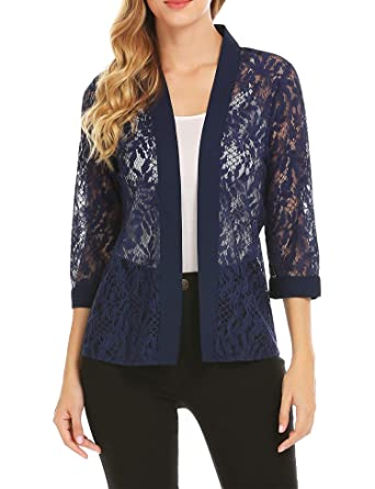 Grabsa Women s Casual 3 4 Sleeve Lace Open Front Cardigan at Amazon Women s  Clothing store  fc058560a