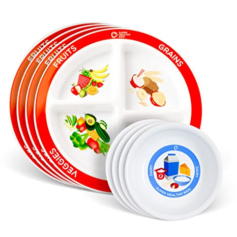 Choose MyPlate for Kids four Section and Kids Dairy Bowl - English 4 Pack