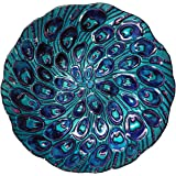 Continental Art Center Peacock Tail Glass Plate, 18-Inch