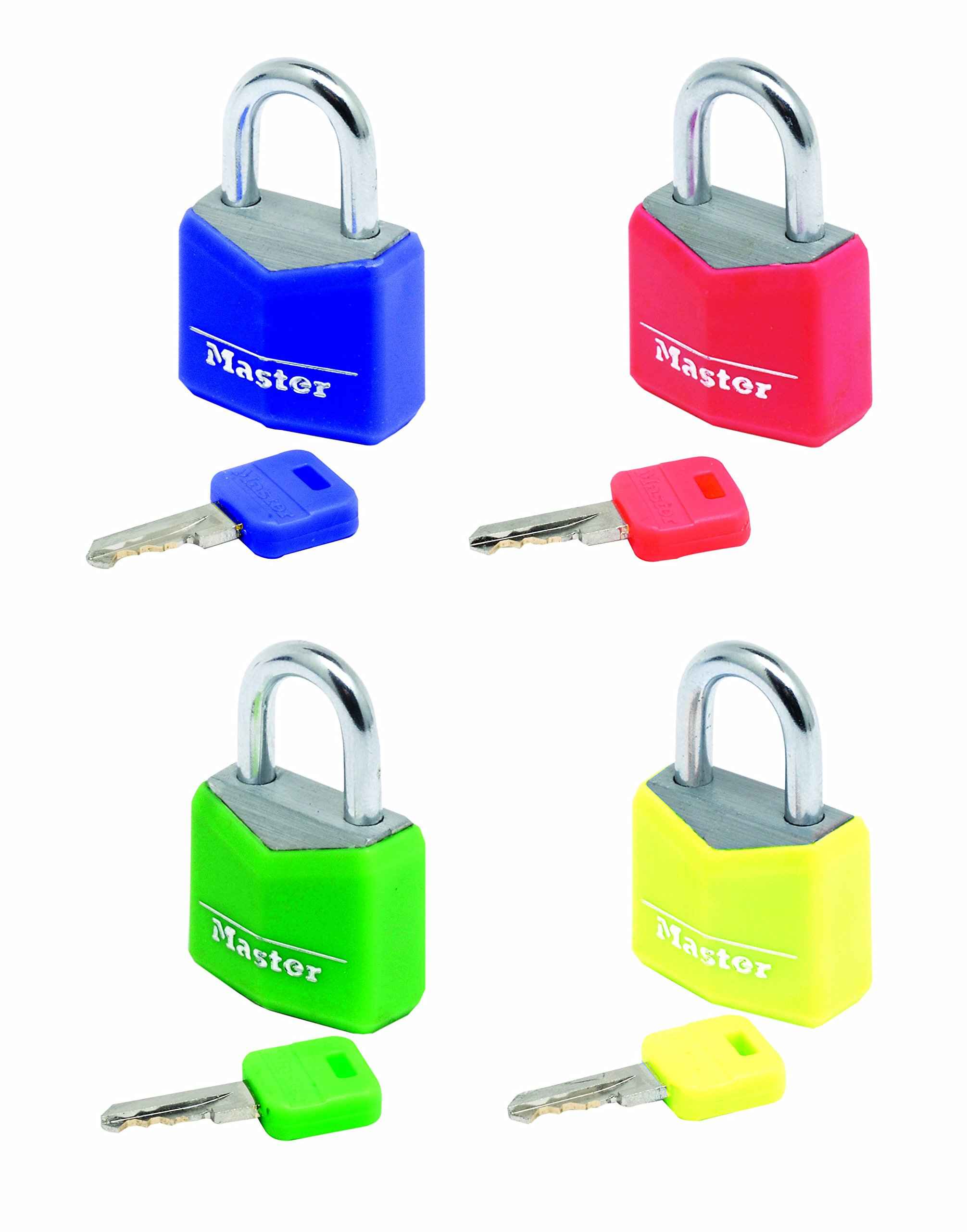 Master Lock Padlock, Solid Aluminum Body Lock, Keyed Alike, Best Used for Best Used for Indoor Storage Lockers, School Lockers and More, Assorted Colours (Pack of 4)