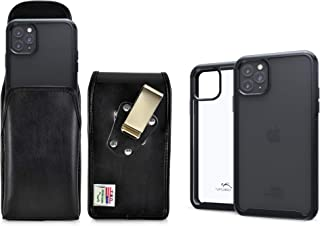 product image for Turtleback Tough Defense Case/Pouch Combo Designed for New iPhone 11 Pro (2019) 5.8 Inch, Military Grade Drop Tested Ultra Clear Back Fitted in Leather Holster Rotating Clip-Vertical/Black