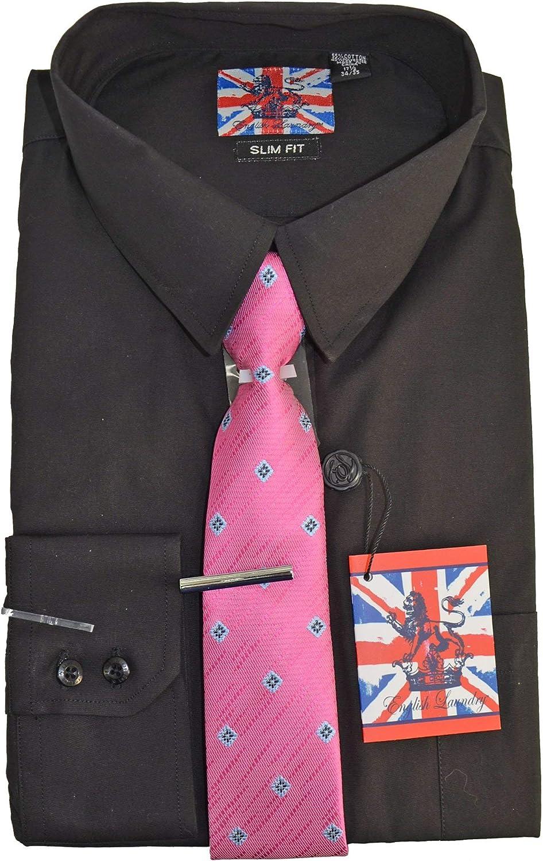 English Laundry Dress Shirt Tie Tie Bar Combo Slim Fit Black