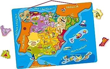 Janod- Puzzle magnético de España (Juratoys J05527): Amazon.es: Juguetes y juegos