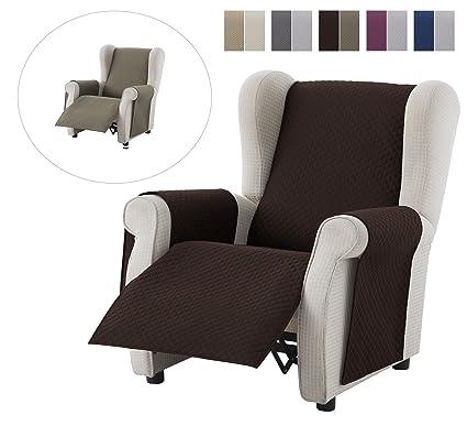 textil-home Funda Cubre Sillón Relax Adele, Tamaño 1 Plaza -Protecto Sofá Acolchado Reversible. Color Marrón