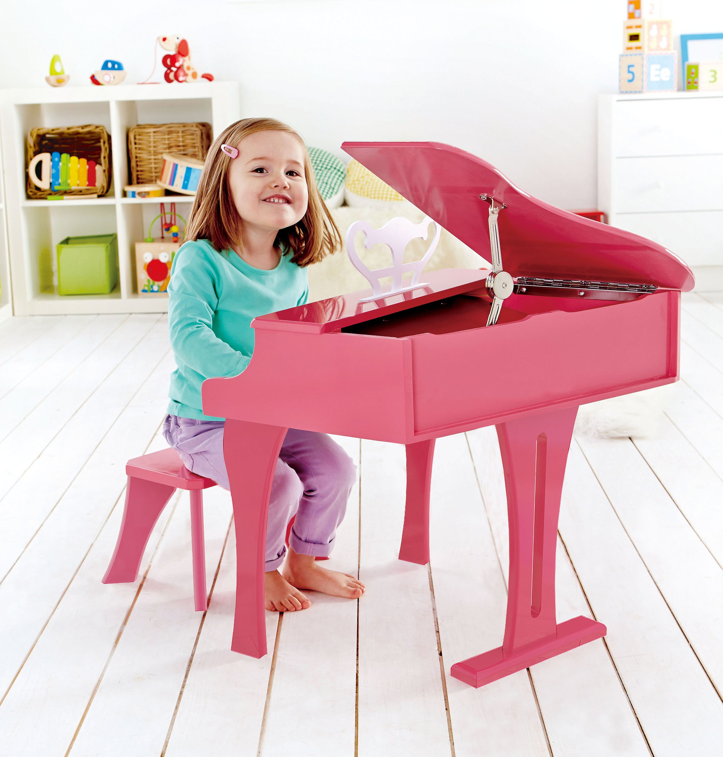 Hape Happy Grand Piano in Pink Toddler Wooden Musical Instrument by Hape (Image #2)