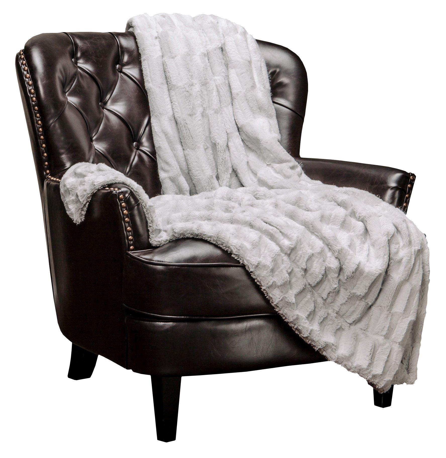 Chanasya Super Soft Fuzzy Faux Fur Elegant Rectangular Embossed Throw Blanket | Fluffy Plush Sherpa Cream Microfiber Silver Blanket for Bed Couch Living Room Fall Winter Spring (50'' x 65'') - LightGrey