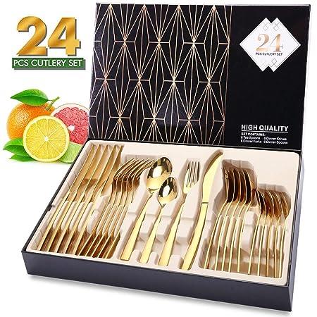 Elegant Life JJuego de Cubiertos de Oro de 24 Piezas ...