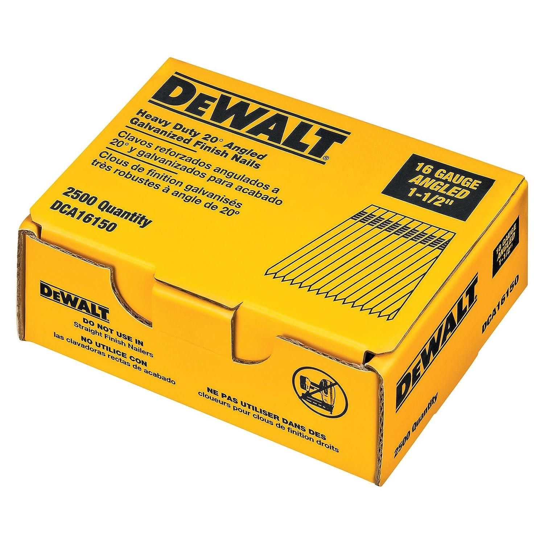 DEWALT DCA16150 1 1 2 Inch by 16 Gauge 20 Degree Finish Nail 2 500 per Box