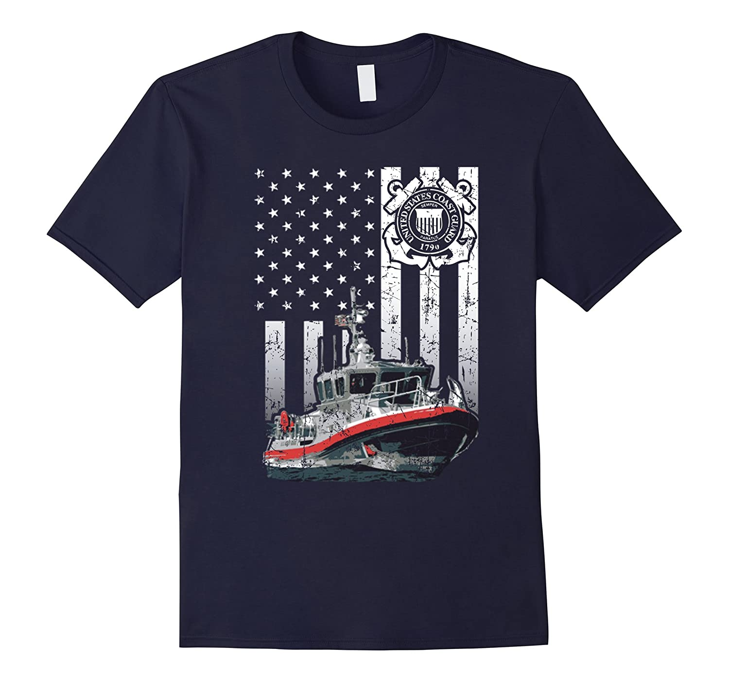 4th August Awesome Coast Guard Ships Boats Flag T-shirt-Art