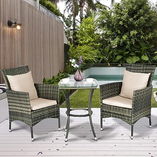 Tangkula AM0991HM 3 Piece Furniture Wicker Rattan Outdoor Patio Set