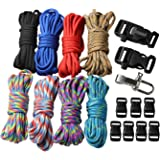 UOOOM 18 pcs Paracord Bracelet kit with Buckles Parachute Cord Outdoor Survival Rope Set DIY Manual Braiding (Style A)