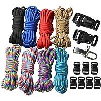 18 pcs Paracord Bracelet kit with Buckles Parachute Cord Outdoor Survival Rope Set DIY Manual Braiding (U10JA)