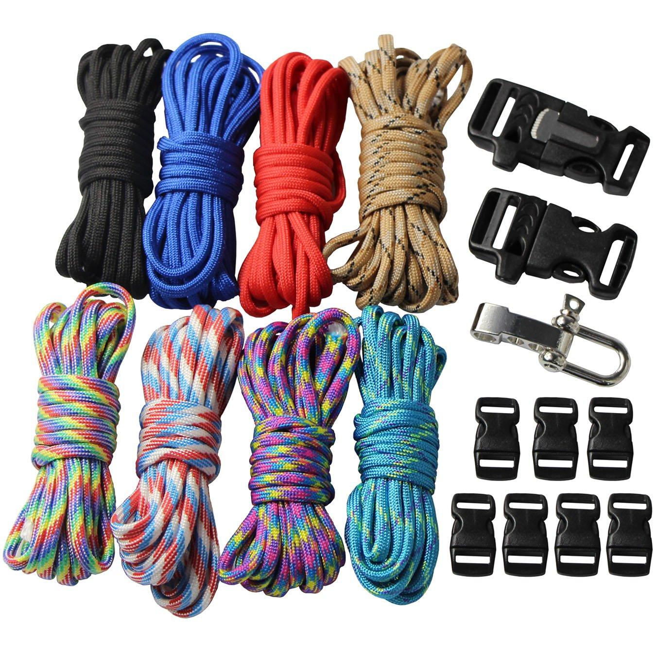 Kit con hebillas de pulseras trenzados de paracaídas, cuerda al aire libre cuerda de supervivencia manual 18 pcs UOOOM