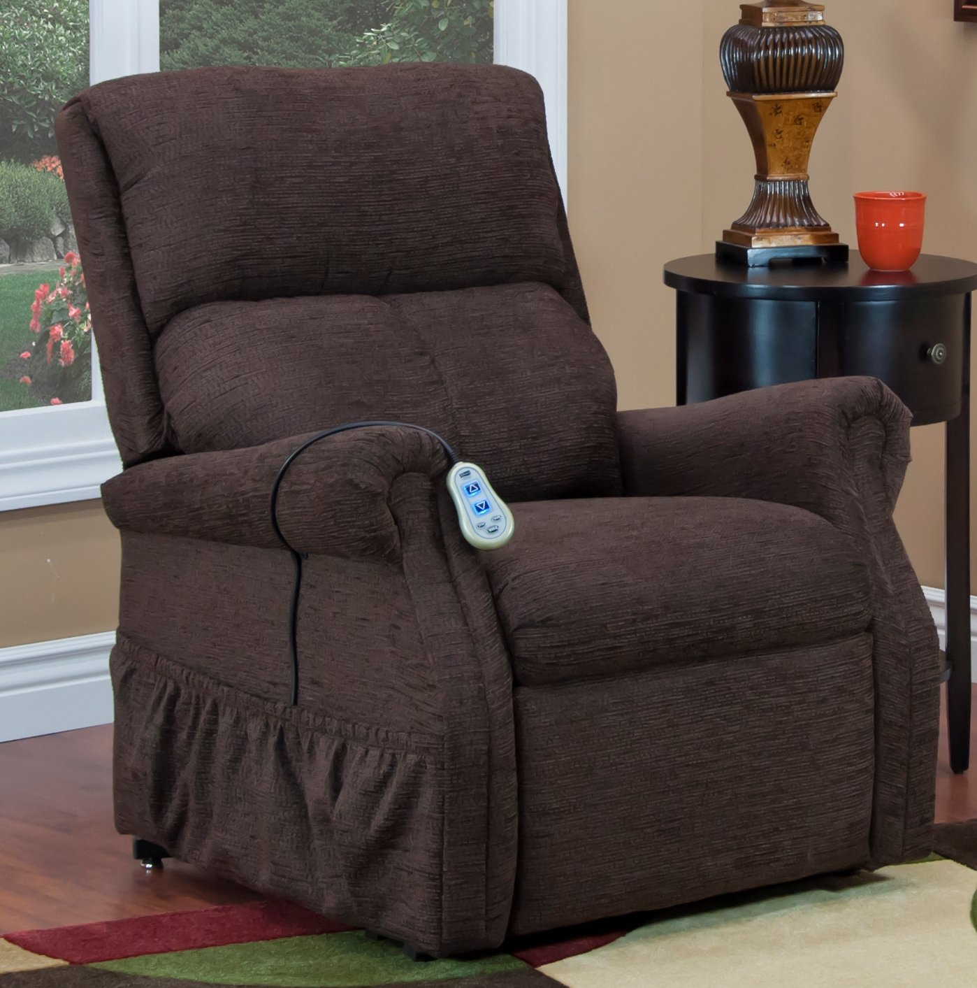 Med-Lift 11 Series 2 Way Reclining Lift Chair, Chocolate, Vibration and Heat, 135 Pound